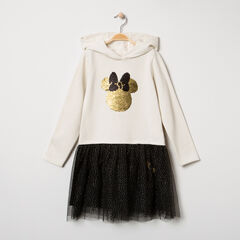 Vestido de manga larga con capucha, motivo de Minnie de lentejuelas mágicas y tul