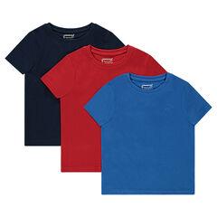 Júnior - Lote de 3 camisetas de manga corta lisa de jersey.