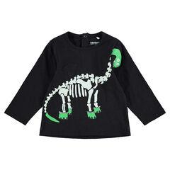 Camiseta de manga larga de HALLOWEEN con esqueleto de dinosaurio estampado