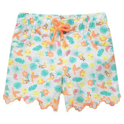 Pantalón corto de rayas finas plateadas y estampado tropical all-over