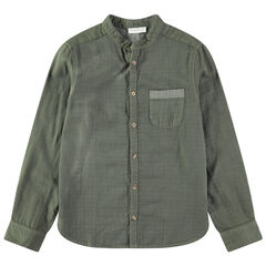 Camisa de manga larga con cuello tipo mao