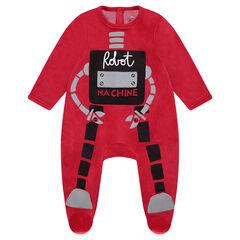 Pijama de terciopelo con esqueleto de robot estampado y bordado