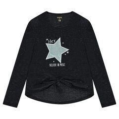 Júnior - Camiseta de manga larga de punto mezclado con hilo brillante