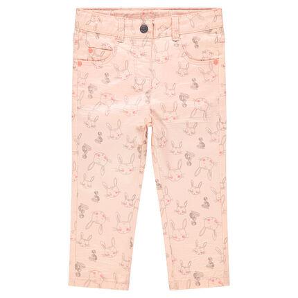 Pantalón slim con efecto arrugado y conejos all over