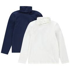 Júnior - Juego de 2 camisetas interiores de punto con logo del mismo color