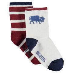 Lote de 2 pares de calcetines con rayas con motivo