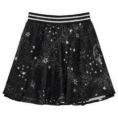 Falda con volantes con dibujo plateado y cintura elástica de rayas