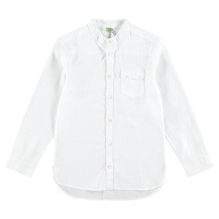 Júnior - Camisa de algodón de fantasía con bolsillos con solapa y botones