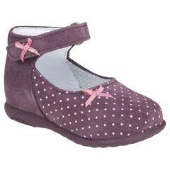 Zapatos merceditas de cuero de color ciruela con estampado de puntos