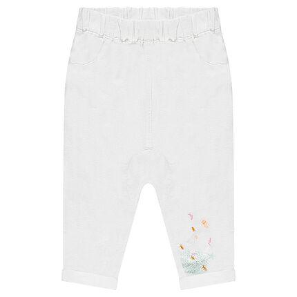 Pantalón bombacho de lino y algodón con dibujo en la parte inferior de la pierna