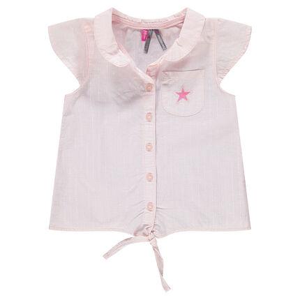 Camisa de manga corta con finas rayas con cordones que se anudan