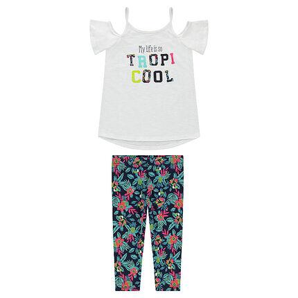 Júnior - Conjunto con camiseta con los hombros al aire y leggings con flores