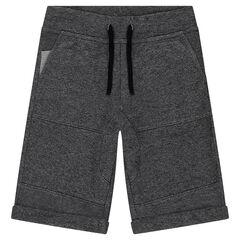 Júnior - Bermudas de muletón gris jaspeado con bolsillos