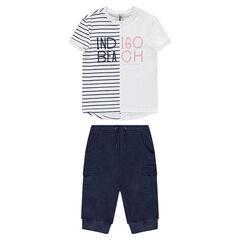 Júnior - Conjunto de camiseta de rayas y bermudas con bolsillos