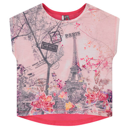 Camiseta de manga corta con forma cuadrada y estampado por delante
