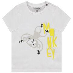 camiseta mangas cortas en algodon bio à print reliéfé