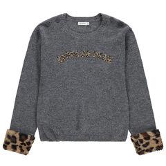 Junior - Jersey de punto gris con puños de pelo falso de leopardo