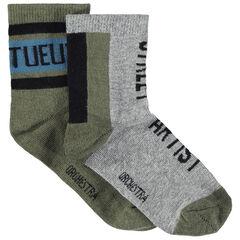Júnior - Juego de 2 pares de calcetines variados con inscripciones de jácquard
