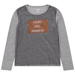 Júnior - Camiseta de manga larga de punto con mensaje de foil