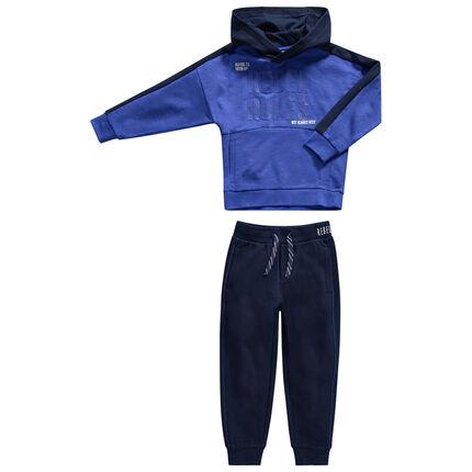Jogging de felpa azul con inscripciones y bolsillos