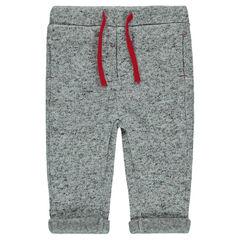 Pantalón de tejido polar jaspeado con cordones en contraste