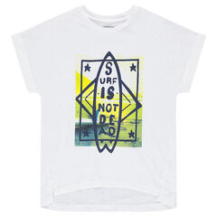 Júnior - Camiseta de manga corta con tabla de surf estampada por delante