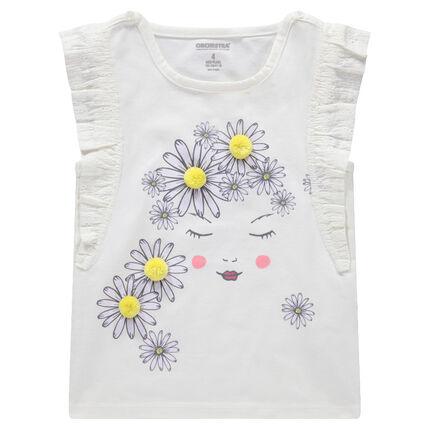 Camiseta de manga corta con volantes y flores estampadas y pompones