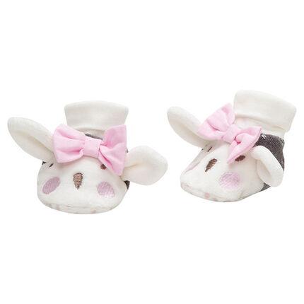 Zapatillas de terciopelo con orejas y lazo de relieve