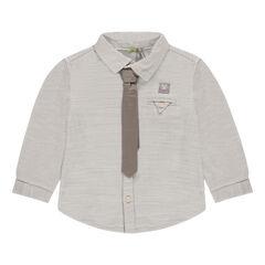 Camisa de manga larga de algodón de fantasía con corbata