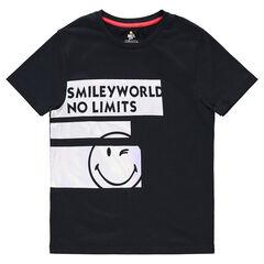 Júnior - Camiseta de manga corta de punto con bandas y ©Smiley estampado