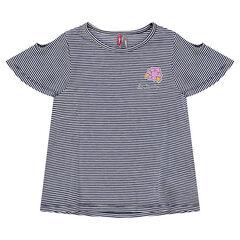 Camiseta de manga corta a rayas con los hombros calados y parche de flor