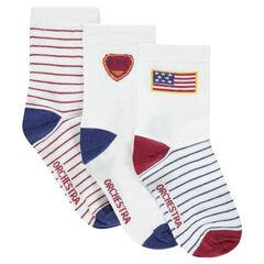 Juego de 3 pares de calcetines variados con dibujos y rayas