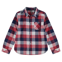 Júnior - Camisa de manga larga de cuadros en contraste