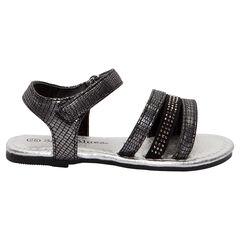 Sandalias de fantasía con efecto cocodrilo negro y plateado