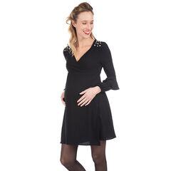 Vestido premamá de manga larga con pedrería de fantasía