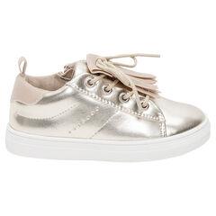 Zapatillas deportivas bajas doradas con aplique de flecos del 24 al 27