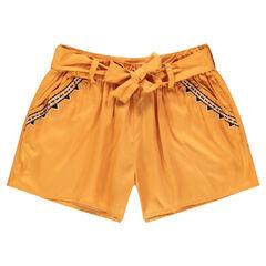 Júnior - Pantalón corto amarillo de lyocell con cenefas bordadas