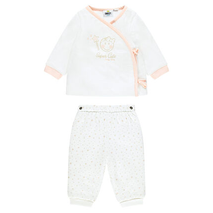 Conjunto para recién nacido de camisita y pantalón de felpa con ©Smiley baby