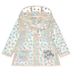 Cortavientos con capucha transparente con lunares all over y mensaje estampado