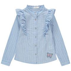 Camisa de rayas con cuello de fantasía y mariposas de lentejuelas