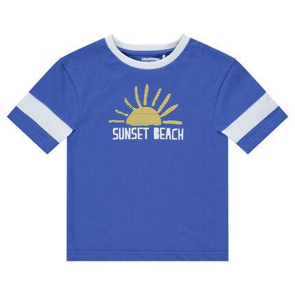 Camiseta de manga larga de punto con sol estampado