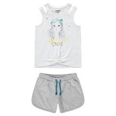 Júnior - Conjunto de camiseta con personaje estampado y pantalón corto gris