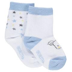 Juego de 2 pares de calcetines variados con estrellas de colores y koala de jacquard