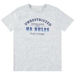 Júnior - Camiseta de manga corta con efecto neps y mensaje estampado