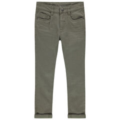 Pantalón con bolsillos liso con efecto desgastado y arrugado