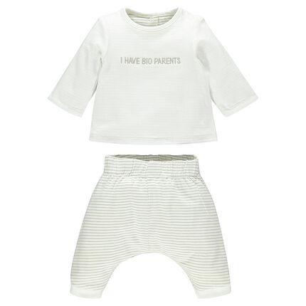 Conjunto camiseta manga larga pantalón reversible de algodón bio