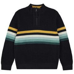 Pull en tricot ottoman à bandes contrastées et col zippé