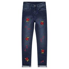 Júnior - Vaquero con corte slim con rosas cosidas