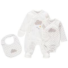 Juego para recién nacido unisex con pijama de terciopelo, body y babero con dibujo de nubes