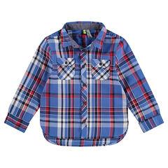 Júnior - Camisa de manga larga a cuadros grandes con bolsillos